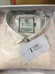 Collar Neck Mens Linen Shirts
