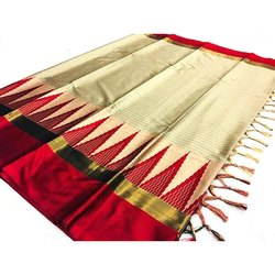 6.5 M Cotton Silk Zari Border Saree, Packaging Type: Packet