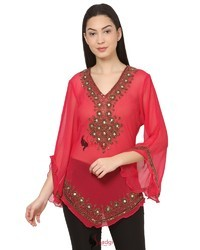 Indo-Western Brass Beads Hand Embroidered Top