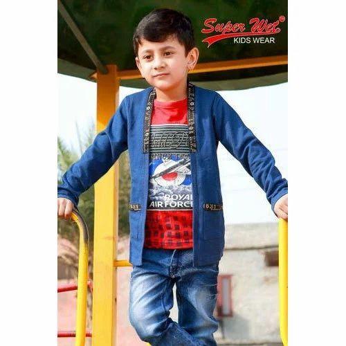 Red And Dark Blue Kids Boy Round Neck T Shirt With Denim Jacket Rs