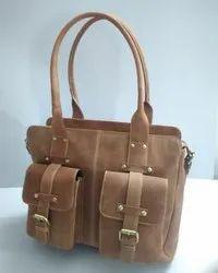 Front Pocket Designer Leather Handbag