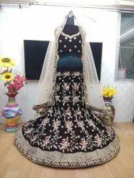 Semi-Stitched Velvet Designer Lehenga Choli, 22 To 40, 2.4 Meter