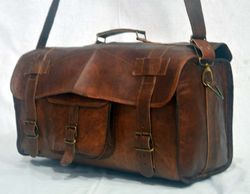 Brown Luggage Leather Travel Duffle Bag