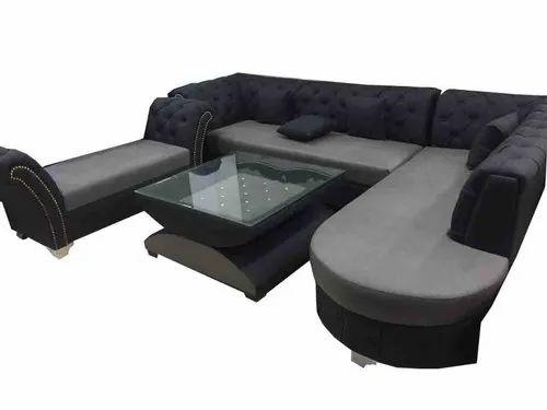 Open Furnitures Black L Shape Sofa Set, Back Style: Cushion back, 4 Years
