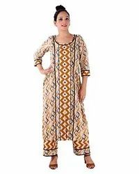 3/4th Sleeve Casual Wear Women Brown Front Lace Print Kurti Pant