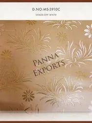 Ivory Plain Jacquard Brocade Fabric