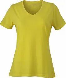 Half Sleeve Casual Wear Ladies Plain V Neck T-shirt