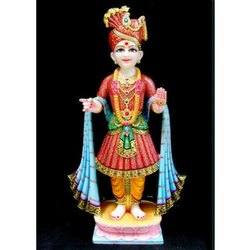 Traditional Hindu Marble Lord Swaminarayan Statue, for Worship, Size: 2.5-3' (h)