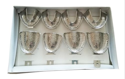 Silver Stainless Steel Impression Tray E-Dentulous Perforated Set Of 8-Pcs
