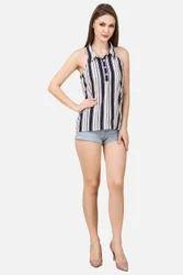 Ladies Printed Stripe Halter Neck Western Top