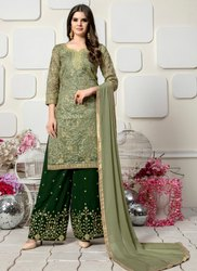 Party Wear Organza Palazzo Suits