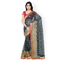 Gray, Golden And Red Designer Party Wear Georgette Saree, 5.5 M (separate Blouse Piece)