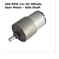 200 RPM 12v DC Offside Gear Motor - Side Shaft