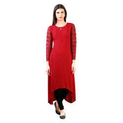 Ladies Red Party Wear Kurti, Size: S-XXL
