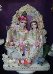 Radha Krishna Stone Marble Statue