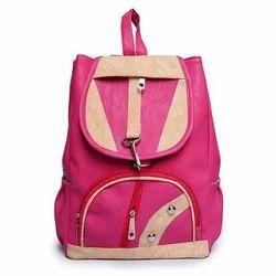 Cord Plain Girls College Shoulder Backpack Bag