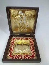 Radha Krishna Gold Plated Photo Frame Box