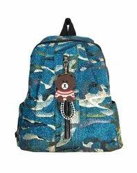 Blue Glittering Print Girls Backpack