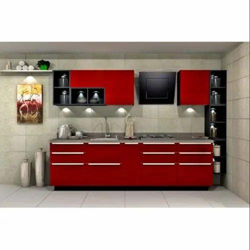 Sleek World PVC Straight Modular Kitchen, Kitchen Cabinets