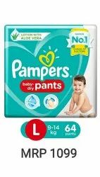 Cotton Pampers Baby Diaper, Size: Large