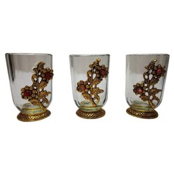 Indian Handicrafts Glass and Gold Plated Metal Gold Plated Glass Set