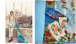 Printed Sleeve Less Mina Hasan Salwar Suit Fabric
