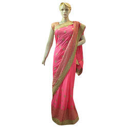 Party Wear Border Pure Chiffon Saree