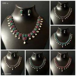 Party Wear German Silver Necklace