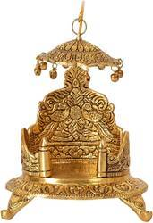 Bharat Handicraft Krishna Laddu Bal Gopal Gold Plated Singhasan , Religious Puja Gifts and Decor