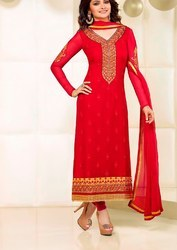 Red Party Wear Ladies Churidar Suit