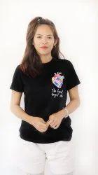 Cotton Black nei T-shirt, Age Group: 18-30