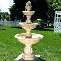 FRP Cream Three Tier Fountain