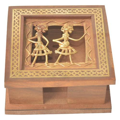 Wooden Note Pad Box With Brass Work