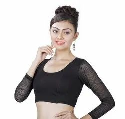 Abhi Stretchable Soft Cotton Blouse With Three Quarter Net Sleeves and Designer Net Back