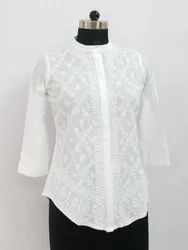 3/4th Sleeve Chikan Embroidered Top