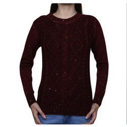 Maroon Plain Ladies Pullover Wool Sweater