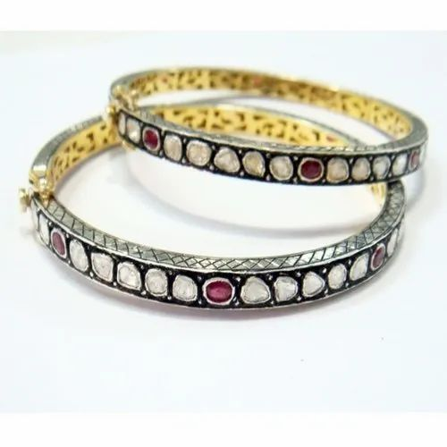 Multicolor Brass Diamond Ruby Polki Bangles