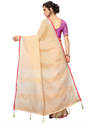 Sangini Cream Pure Linen Cotton Saree