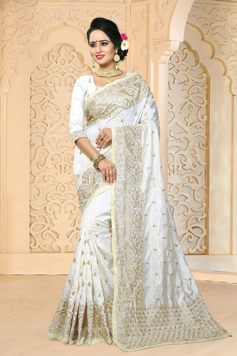 fbfc61db87 White Wedding And Party Gorgeous Embroidery Designer Saree, Rs 4000 ...