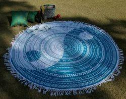 Yin Yang Pom Pom Lace Work Printed Beach Picnic Mats
