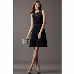 Crepe Round Neck Short Dresses