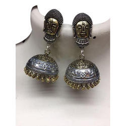 self oval Ladies Brass Jhumka