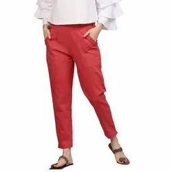 Ladies Plain Cotton Casual Pants