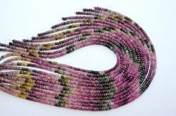 15 Inch 4mm 100% Natural Multi Tourmaline Faceted Rondelle Beads