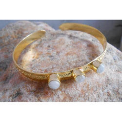 Handmade Gold Plated Gemstone Brass Bangles
