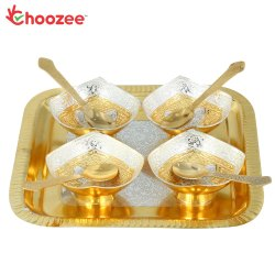 Choozee - Handicrafted Silver/Gold Plated Bowl with Tray & Spoon