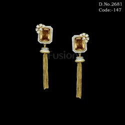 Fusion Designer American Diamond Chain Tassel Earrings