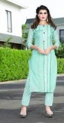 Handwork Rayon Cotton Kurti Pant Set