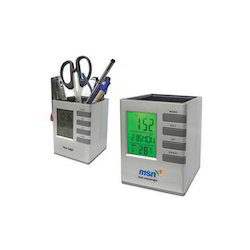 Plastic Cube Desktop Stationery Holder with Digital Clock, Packaging Type: Box