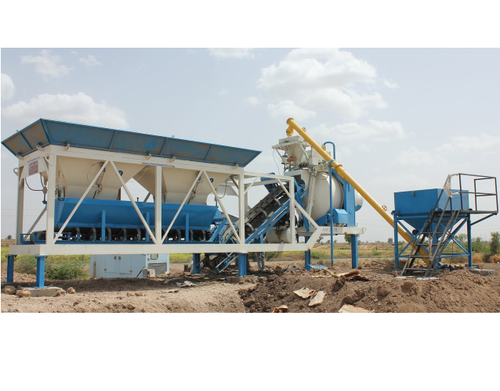 Stainless Steel Portable Concrete Batching Plant with Reversible Drum Mixer, Power: 35-45 HP